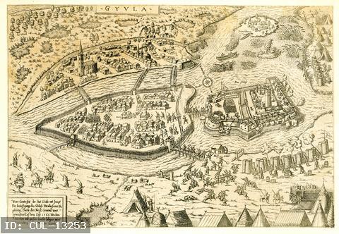 Gyula 1566-os ostroma; A metszet közepén a vár és a város madártávlati képe a vár védőinek ábrázolásával. Lent és a jobb oldalon az ostromló török sereg. A metszeten magyarázó feliratok., műfaj: várostrom, készítés éve: [post 3. Sept. 1566], technika: rézkarc